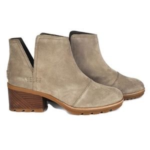 NWT Sorel cate cut out ash brown suede booties